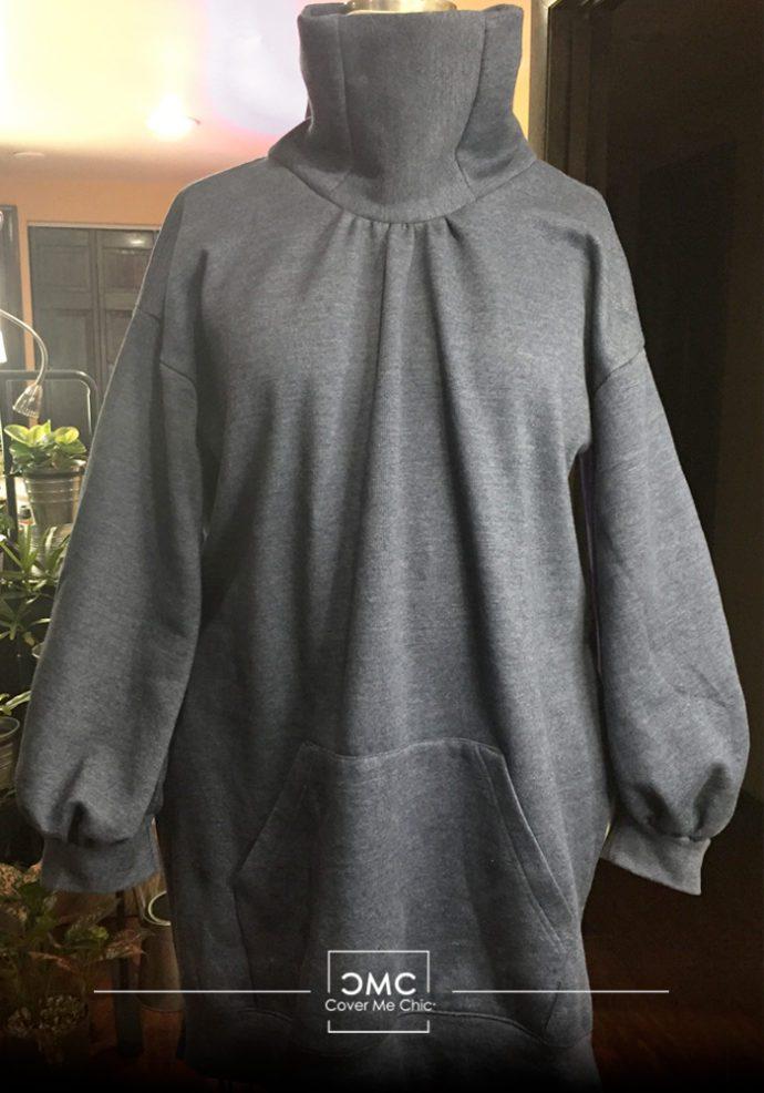Refashioned Sweatshirt Ballon Sleeve Top
